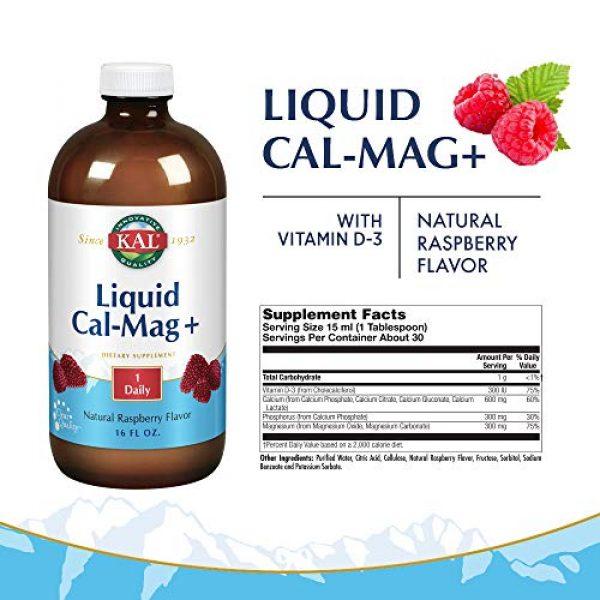 KAL Calcium Supplement 2 KAL Liquid Cal-Mag+ Vitamin D-3 | Natural Raspberry Flavor | Healthy Bones, Muscle & Heart Support | 30 Servings | 16 oz
