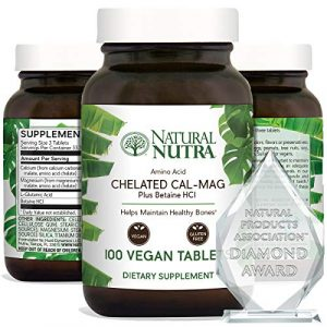 Natural Nutra Calcium Supplement 1 Natural Nutra Chelated Cal Mag 1000/500 mg Supplement Plus Betaine HCL, Improves Bone Strength and Density, Muscle Health, Healthy Teeth, Supports Cardiovascular System, Nerve Health, 250 Vegan Tablet