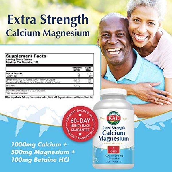 KAL Calcium Supplement 2 KAL Extra Strength Calcium Magnesium Tablets, 250 Count
