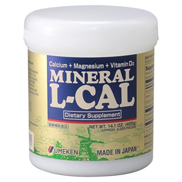 Umeken Calcium Supplement 1 Umeken Mineral L Cal (Large Bottle), 6 Month Supply- Calcium Enriched with Magnesium, Vitamin D3 and Minerals. Water Soluble and Fast Absorbing. Made in Japan.