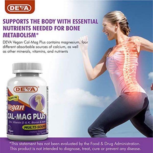 DEVA Calcium Supplement 4 DEVA Vegan Cal MAG Plus - Supplement with Calcium, Magnesium, Zinc, Boron, Vitamin C, D & K - Daily Nutritional Supplement to Maintain Strong Bones* - 90 Vegetarian/Vegan Tablets, 2-Pack