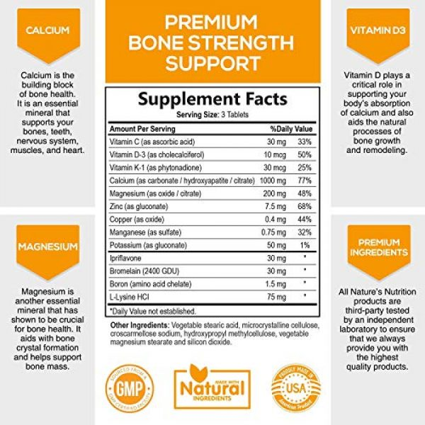 Nature's Nutrition Calcium Supplement 2 Bone Strength Supplements Calcium Formula - Vitamin K + D3, Magnesium, Potassium - Made in USA - Complete Bone Health Supplement to Support Growth, Mass, Density, Hardness - 60 Tablets