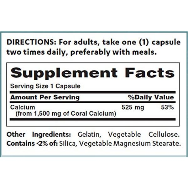 Vitamin World Calcium Supplement 2 Vitamin World Coral Calcium 1500 mg. 120 Capsules, Mineral Supplement, Rapid-Release, Gluten Free