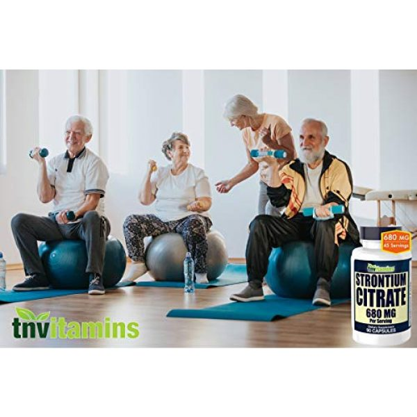 TNVitamins Calcium Supplement 3 Strontium Citrate Supplement   680 Mg - 90 Capsules   Bone Strength, and Bone Support Formula   Strontium Supplement for Bone Health, Density   Similar Mineral to Calcium   Supports Healthy Teeth