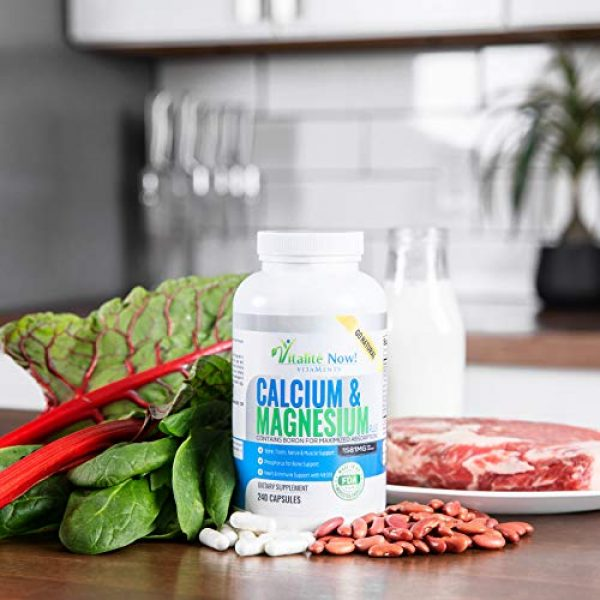 Vitalit Now Calcium Supplement 6 Best Calcium & Magnesium + Vitamin D3 400 IU - Highly Absorbable with Boron - 10 Forms of Calcium + Phosphorus for Bone Strength - All Natural - 240 Capsules - 2 Month Supply!