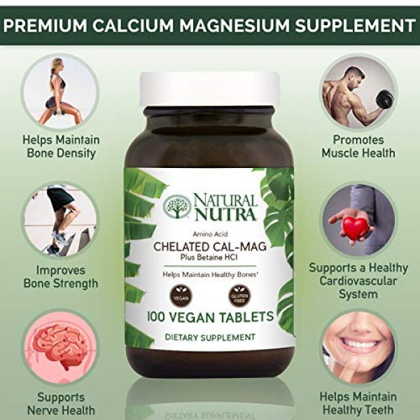 Natural Nutra Calcium Supplement 3 Natural Nutra Chelated Cal Mag 1000/500 mg Supplement Plus Betaine HCL, Improves Bone Strength and Density, Muscle Health, Healthy Teeth, Supports Cardiovascular System, Nerve Health, 250 Vegan Tablet
