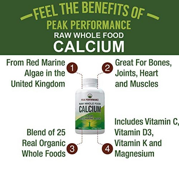 Peak Performance Calcium Supplement 3 Raw Whole Food Vegan Calcium Supplement by Peak Performance. Plant Based Calcium with Vitamin C, D3, K, Magnesium. Capsules for Bone, Joints. with 25 Organic Vegetables and Fruits 120 Pills, Tablets