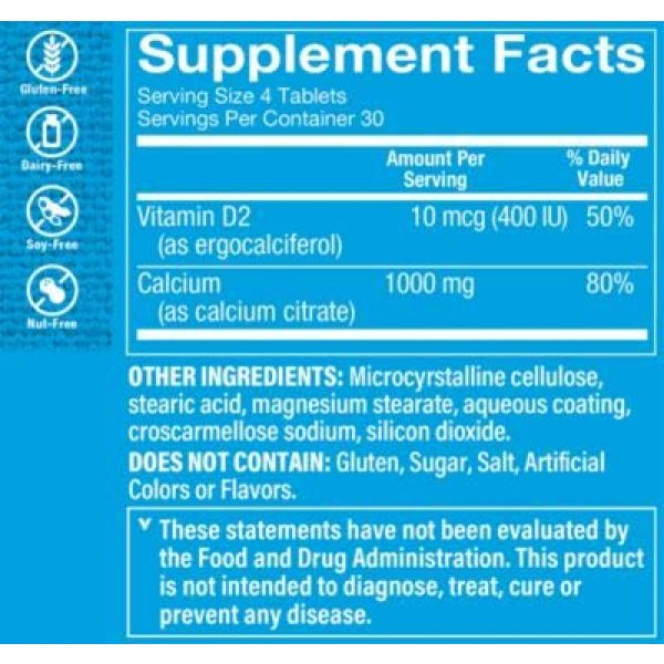 The Vitamin Shoppe Calcium Supplement 2 Calcium Citrate with 400IU Vitamin D - Mineral Essential for Healthy Bones Teeth - 100 Daily Value of Well Absorbed Form of Chelated Calcium, Vitamin D (as Ergocalciferol (120 Tablets)