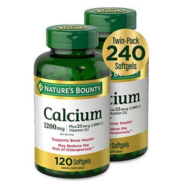 Nature's Bounty Calcium Supplement 1 Calcium & Vitamin D by Nature's Bounty, Immune Support & Bone Health, 1200mg Calcium & 1000IU Vitamin D3, 120 Softgels (2-Pack)