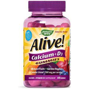 Nature's Way Calcium Supplement 1 Nature's Way Premium Calcium + D3 Gummy + Orchard Fruits/Garden Veggies Blend, 60 Cherry & Strawberry Gummies