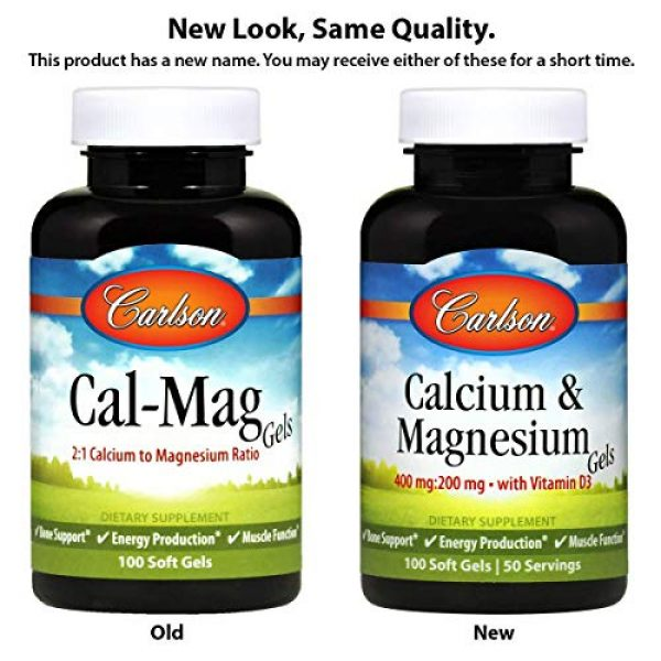 Carlson Calcium Supplement 2 Carlson - Cal-Mag Gels, 2:1 Calcium to Magnesium Ratio, Calcium Magnesium Supplement & Vitamin D, 200 mg Calcium Supplement, 100 mg Magnesium Supplement, Bone Support, Energy Production, 250 Softgels