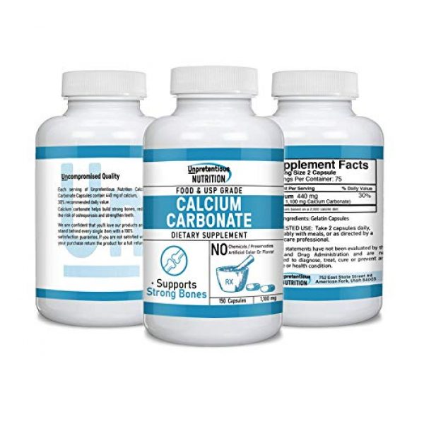 Unpretentious Nutrition Calcium Supplement 2 Calcium Carbonate Supplement,150 Capsules, 1,100 mg/Serving by Unpretentious Nutrition, Bone Health Support, Strengthens Teeth, Natural Antacid, Lab Tested