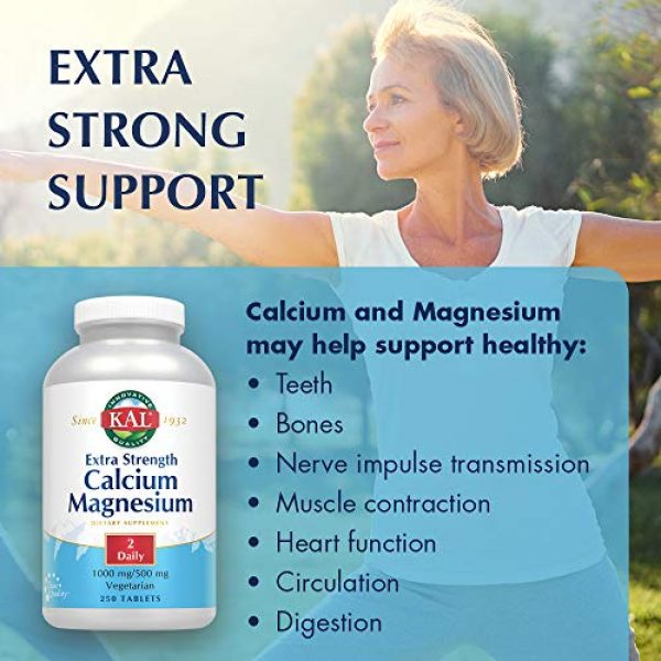 KAL Calcium Supplement 3 KAL Extra Strength Calcium Magnesium Tablets, 250 Count