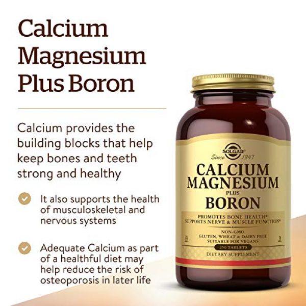 Solgar Calcium Supplement 3 Solgar Calcium Magnesium Plus Boron, 250 Tablets - Promotes Bone Health, Supports Nerve & Muscle Function - with Boron for Calcium Metabolism - Vegan, Gluten Free, Dairy Free, Kosher - 83 Servings