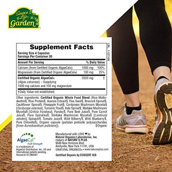 Nature's Plus Calcium Supplement 6 NaturesPlus Source of Life Garden Certified Organic Calcium with AlgaeCal - 1000 mg, 120 Vegan Capsules - Plant-Based Bone Health Support Supplement - Vegetarian, Gluten-Free - 30 Servings