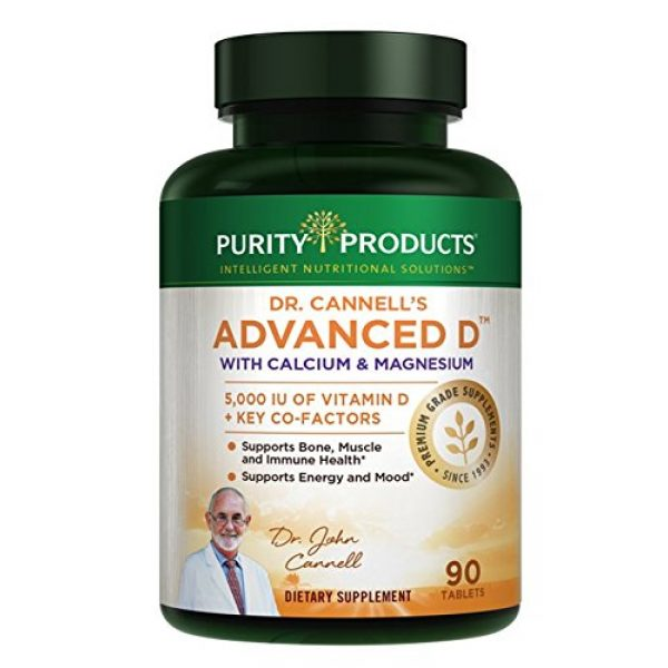 Purity Products Calcium Supplement 1 Dr. Cannell's Advanced D with Calcium & Magnesium | Purity Products | Packed with Magnesium, Magnesium Citrate, Zinc, Boron, Taurine | Bone Density Support with Vitamin D* | 90 Tablets