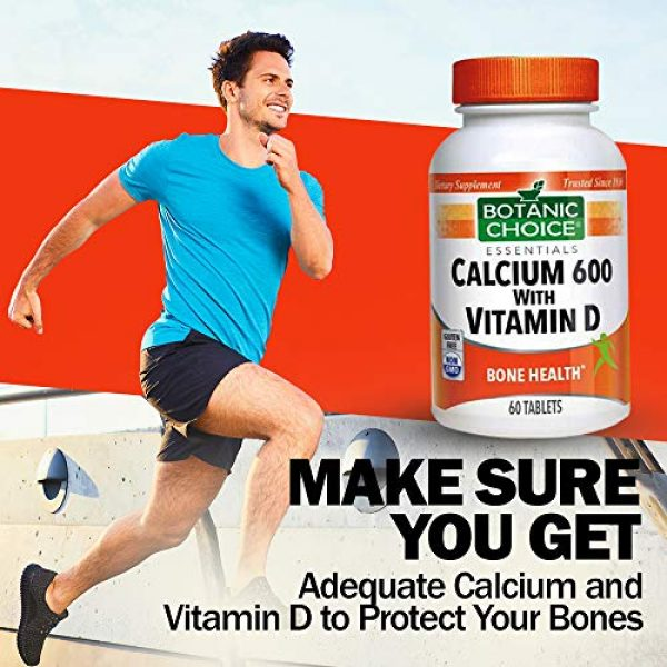 Botanic Choice Calcium Supplement 5 Botanic Choice Calcium 600 with Vitamin D - Adult Daily Supplement - Combines Essential Vitamins and Minerals to Support Proper Absorption Promotes Bone Health and Overall Wellness
