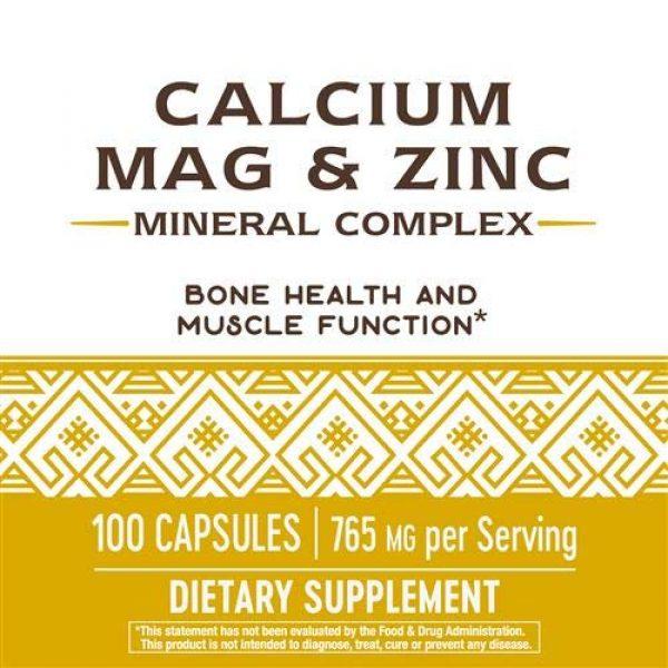 Nature's Way Calcium Supplement 5 Nature's Way Calcium, Magnesium & Zinc, 765 mg per serving, 100 Capsules