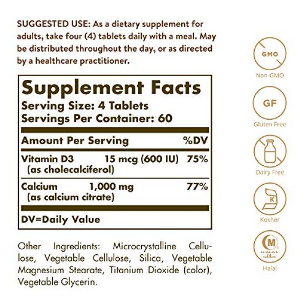 Solgar Calcium Supplement 2 Solgar Calcium Citrate with Vitamin D3 Tablets, 240 Count (Pack of 1)