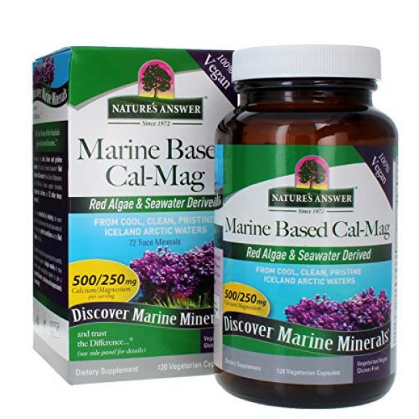 Nature's Answer Calcium Supplement 1 Nature's Answer Marine Based Calcium Magnesium, Super Concentrated 500mg   Plant Based   Red Algae & Seawater Derived   Alcohol-Free & Gluten-Free   Vegetarian Capsules 120ct