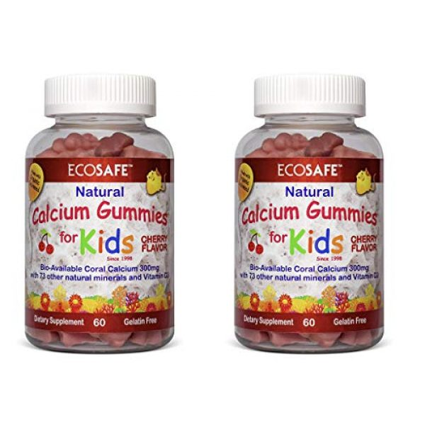 ECO SAFE Calcium Supplement 1 Coral Calcium Vitamin D3 Kids Gummy, Natural Cherry Flavor, Non GMO, Gluten-Free, Dairy-Free, Soy-Free and Gelatin Free - 300 mg of Calcium, and 500 IU of Vitamin D3-60 Gummies (2 Pack)