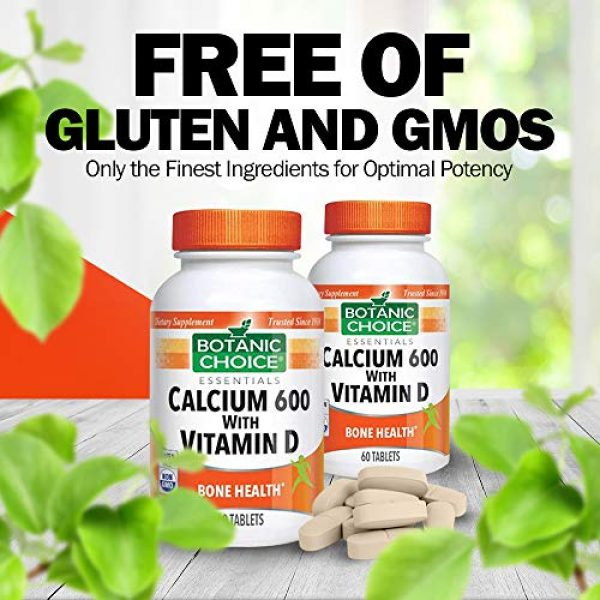 Botanic Choice Calcium Supplement 7 Botanic Choice Calcium 600 with Vitamin D - Adult Daily Supplement - Combines Essential Vitamins and Minerals to Support Proper Absorption Promotes Bone Health and Overall Wellness