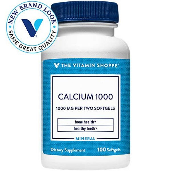 The Vitamin Shoppe Calcium Supplement 2 Calcium (Carbonate) 1000mg - Mineral Essential for Healthy Bones Teeth - Added 400IU Vitamin D to Aid in Absorption (100 Softgels) by The Vitamin Shoppe