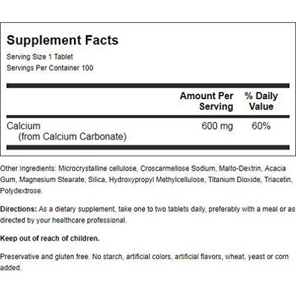 Nature's Blend Calcium Supplement 2 Nature's Blend Pure Calcium Carbonate 600 mg 100 Tabs
