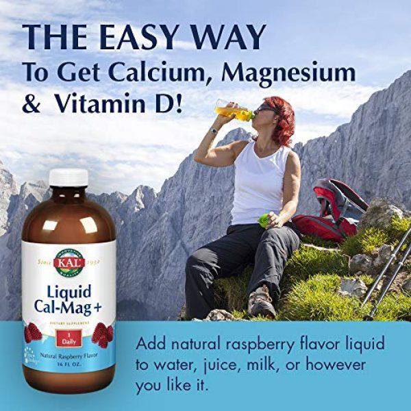 KAL Calcium Supplement 4 KAL Liquid Cal-Mag+ Vitamin D-3 | Natural Raspberry Flavor | Healthy Bones, Muscle & Heart Support | 30 Servings | 16 oz