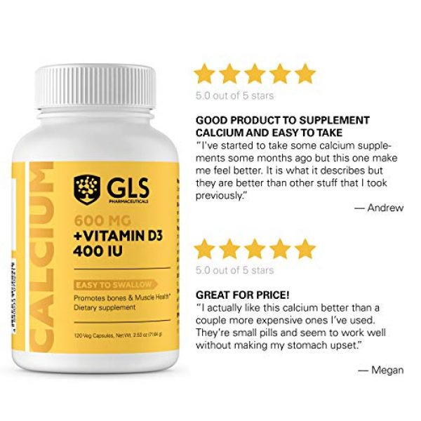 GLS Pharmaceuticals Calcium Supplement 4 Calcium 600 mg with Vitamin D3 400 IU - Pure and Natural Vegan Caps - Bone and Joint Health Supplement for Women And Men - 120 Easy to Swallow Mini Calcium Pills - Bone Support Capsules by GLS