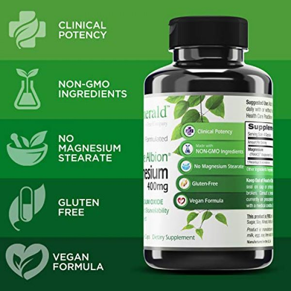 Emerald Labs Calcium Supplement 4 Emerald Labs Magnesium 400mg (Pure Albion) Gold Standard Bioavailability - 120 Vegetable Capsules