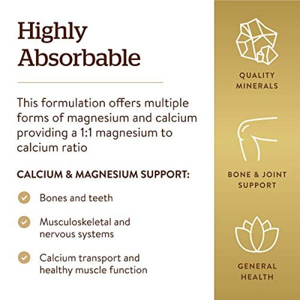 Solgar Calcium Supplement 4 Solgar Chelated Calcium Magnesium 1:1, 240 Tablets - Promotes Healthy Bones - Supports Nerve & Muscle Function - Non-GMO, Vegan, Gluten Free, Dairy Free, Kosher, Halal - 60 Servings