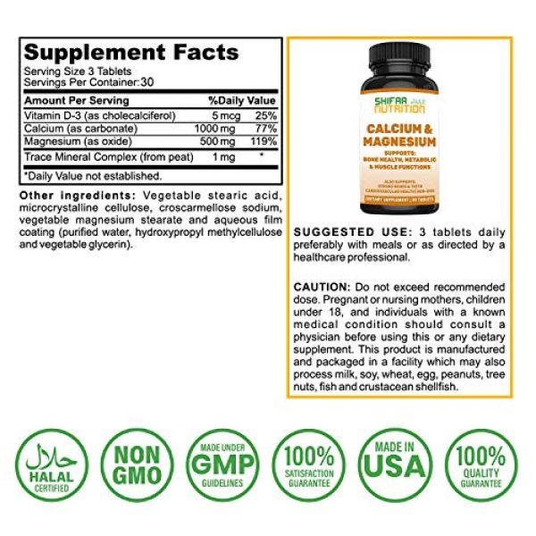SHIFAA NUTRITION Calcium Supplement 3 Bone Strength Calcium Magnesium Supplement by SHIFAA NUTRITION   With Vitamin D3, Trace Minerals   Supports Cardiovascular Health & Metabolic Functions   NON-GMO Cal Mag   Halal Vitamins   30 servings