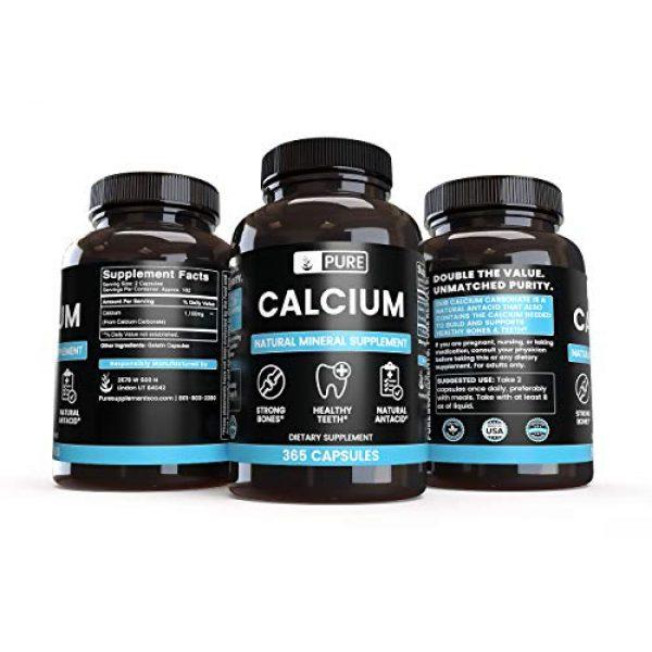 Pure Organic Ingredients Calcium Supplement 2 Pure Calcium Carbonate (365 Capsules) Natural Mineral Supplement, Dairy-Free, Non-GMO & Gluten-Free (1100 mg Serving)