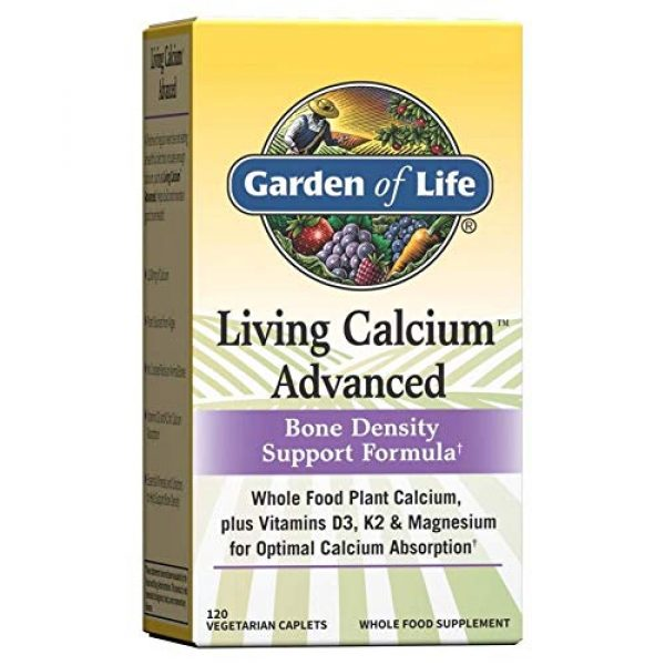 Garden of Life Calcium Supplement 1 Garden of Life Calcium Supplement - Living Calcium Advanced Bone Density Support Formula, 1,000mg Whole Food Plant Calcium Plus Vitamins D3, K1 and Magnesium for Absorption, 120 Vegetarian Caplets
