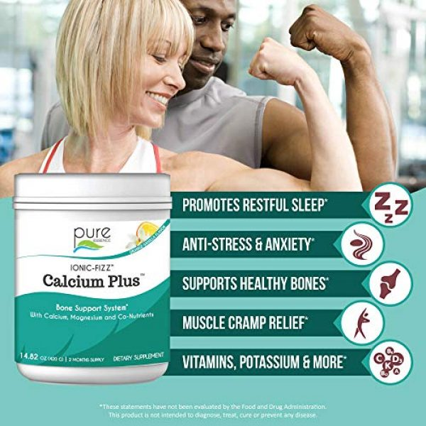 PURE ESSENCE LABS Calcium Supplement 3 Pure Essence Labs Ionic Fizz Calcium Plus-Perfect Calcium/Magnesium Ratio with Every Co-Factor Needed for Strong Bones - Orange Vanilla - 420 Grams