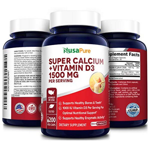 NusaPure Calcium Supplement 4 Super Calcium 1500mg with Vitamin D 1000IU 200 Veggie Powder Caps (Non-GMO & Gluten Free) Helps to Prevent Bone Loss, Osteoporosis