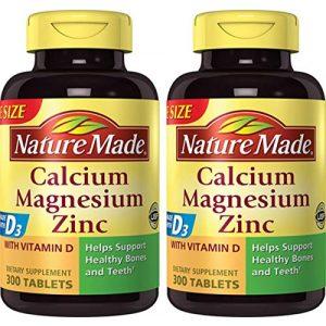 Nature Made Calcium Supplement 1 Nature Made Calcium, Magnesium & Zinc w. Vitamin D Tablets Value Size (Pack of 2)