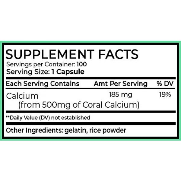 Ahana Nutrition Calcium Supplement 6 Coral Calcium Capsules by Ahana Nutrition - Calcium Pills to Support Bone and Teeth Health, Healthy Digestion, PH Balance and Overall Wellness (500mg - 100 Easy to Swallow Pills)