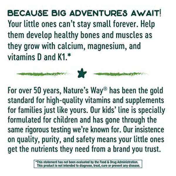 Nature's Way Calcium Supplement 3 Natures Way Kids Growing Bones & Muscles, Calcium & Vitamin D, Ages 4+ Wildberry Flavor, 60 Gummies