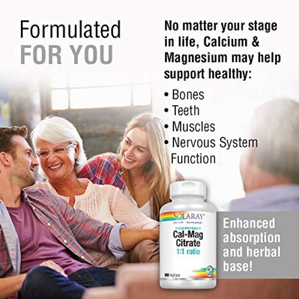 Solaray Calcium Supplement 3 Solaray Cal-Mag Citrate 1:1   Calcium & Magnesium Citrate   for Healthy Bones, Teeth, Muscle & Nervous System Function   High Absorption   180 Count