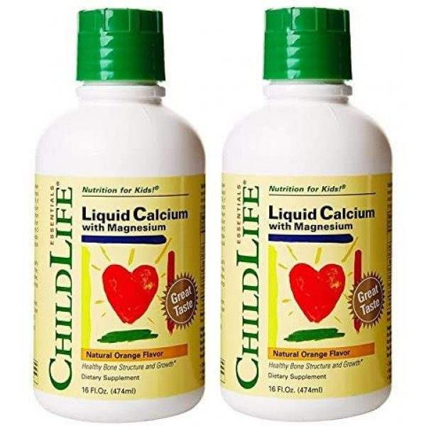 CHILDLIFE ESSENTIALS Calcium Supplement 1 ChildLife Essentials Liquid Calcium with Magnesium for Infants, Babys, Kids, Toddlers, Children, and Teens, Orange Flavor 16 Ounce (Pack of 2)