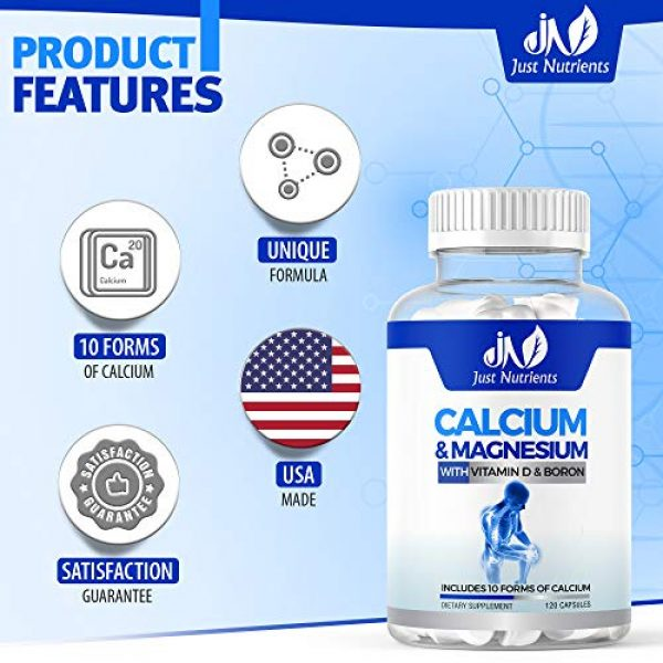 Just Nutrients Calcium Supplement 2 Just Nutrients Calcium & Magnesium Supplement with 10 Forms of Calcium, Vitamin D3 & Boron for Superior Absorption - Supports Strong Bones, Muscles and Teeth - 120 Capsules