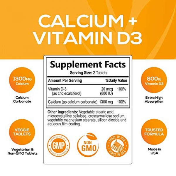Nature's Nutrition Calcium Supplement 2 Calcium Supplement with Vitamin D3 - High Potency Calcium Carbonate 1300mg - Made in USA - Calcium to Support Bone Health and Help Strong Bones for Women and Men - Non-GMO - 120 Tablets