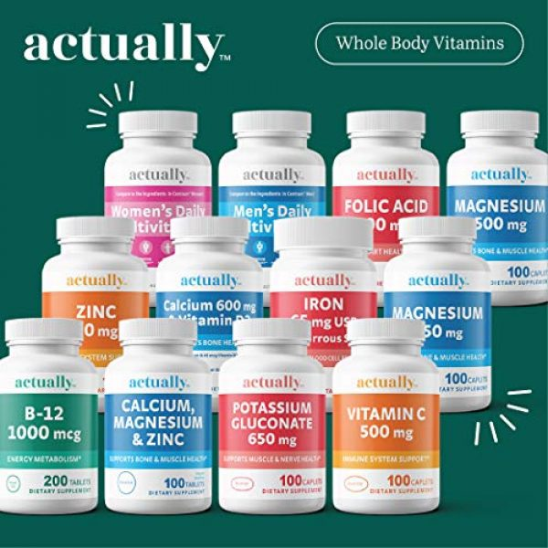 Actually Calcium Supplement 5 Actually Calcium & Vitamin D3 600mg Tablets, 120ct - Support Bone Health for Adults - 120-Day Supply