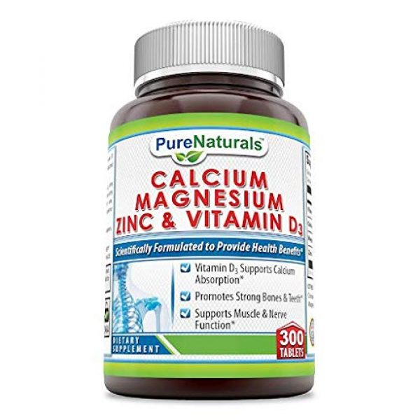 Pure Naturals Calcium Supplement 1 Pure Naturals Calcium Magnesium Zinc with Vitamin D3, 300 Tablets, Supports Nerve & Muscle Functions* Supports Strong Bones & Teeth*