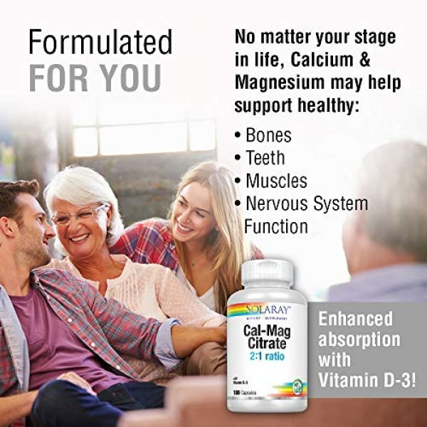 Solaray Calcium Supplement 3 Solaray Calcium & Magnesium Citrate 2:1 Ratio w/Vitamin D-3 | Healthy Bones, Muscle & Nervous System Support | High Absorption | 180 Capsules