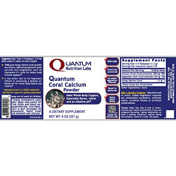 Quantum Nutrition Labs Calcium Supplement 2 Quantum Coral Calcium Powder, 8oz (175 Servings) Ideal Whole Body Support, Especially for The Bones, Joints, Teeth and an Alkaline pH