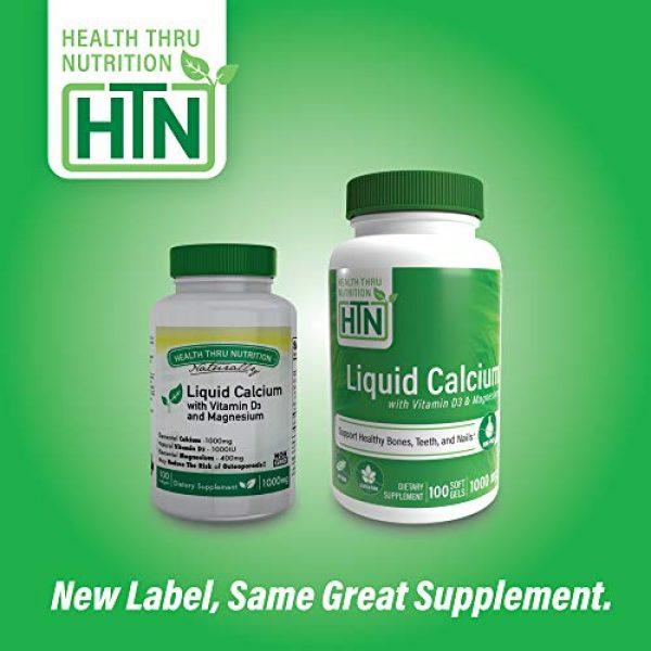 Health Thru Nutrition Calcium Supplement 4 Liquid Calcium and Magnesium with 1000 IU D3, Vitamin K, Non-GMO, Soy-Free (100 Softgels)