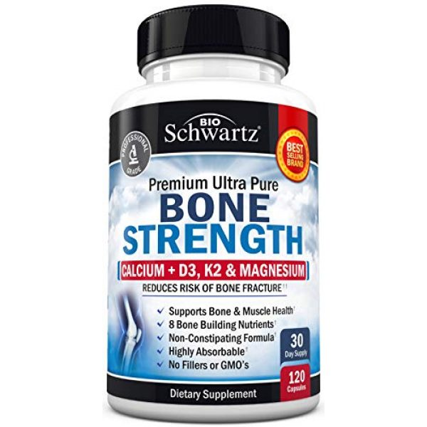 BioSchwartz Calcium Supplement 4 Bone Strength Supplement with Calcium + D3, K2 & Magnesium - Highly Absorbable Vitamin Blend for Bone & Muscle Support - Non-Constipating Formula - 8 Bone Building Nutrients - 120 Count